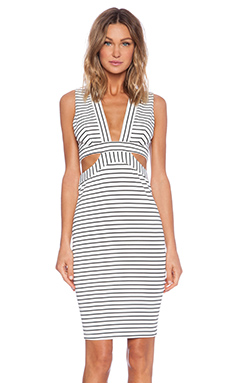 BEC&BRIDGE Wanderer Midi Dress in White Stripe