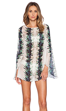 BELUSSO Cap Estel Silk Tunic in Dark Feathers