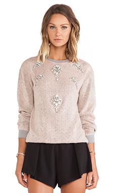 HEMANT AND NANDITA Pop Melange Woolen Sweatshirt in Pink & Grey
