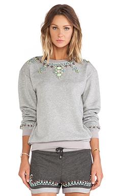 Benedita Crystal Sweatshirt in Light Grey