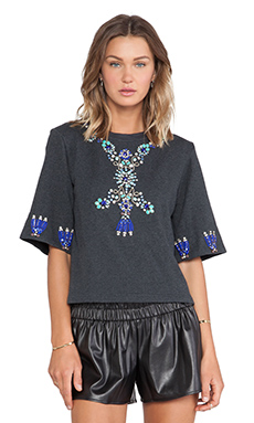 Benedita Crystal Short Sleeve Sweatshirt in Dark Grey