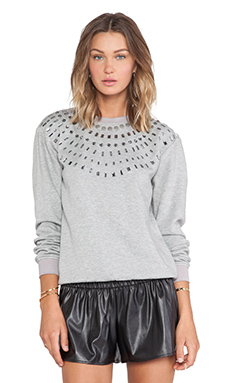 Benedita Crystal Sweatshirt in Light Grey