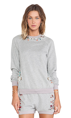 Benedita Crystal Neckline Sweatshirt in Light Grey