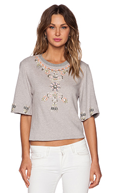 HEMANT AND NANDITA Embellished Crop Sweatshirt in Heather Grey