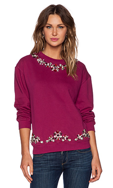 HEMANT AND NANDITA Embellished Neck Sweatshirt in Plum
