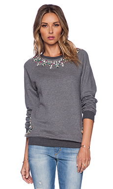 HEMANT AND NANDITA Crystal Neckline Sweatshirt in Dark Grey & Green Diamond