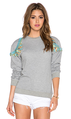 HEMANT AND NANDITA x REVOLVE Crystal Sweatshirt in Light Grey & Light Turquoise Diamond