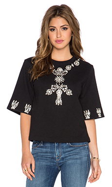 HEMANT AND NANDITA Crystal Short Sleeve Sweatshirt in Black & Diamond
