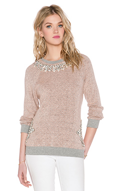 HEMANT AND NANDITA x REVOLVE Crystal Neckline Sweatshirt in Baby Pink & Extra Diamonds