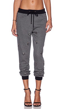 HEMANT AND NANDITA All Over Embellished Sweatpant in Light Grey & Diamond