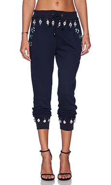 HEMANT AND NANDITA Crystal Sweatpant in Solid Dark Navy & Turquoise Diamond