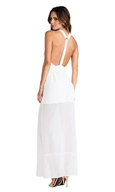 BCBGeneration Y Back Princess Slit Gown in White Ink
