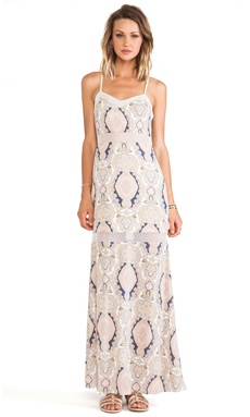 BCBGeneration Printed Seamed Dress in Off White Multi