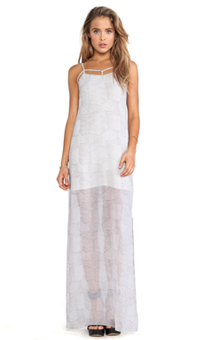 BCBGeneration Open Back Printed Maxi Dress in White Combo