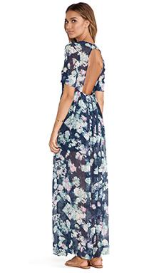 BCBGeneration Open Back Maxi Dress in Blue Night Multi