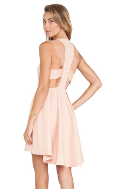 BCBGeneration Lace Shoulder Dress in Blush