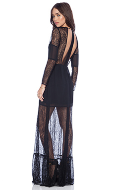 BCBGeneration Cut Out Lace Maxi Dress in Black