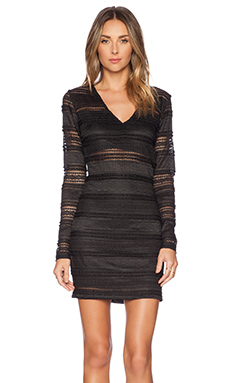 BCBGeneration Lace Ruffle Bodycon Dress in Black