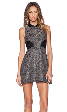 BCBGeneration Mock Neck Dress in Silver Combo