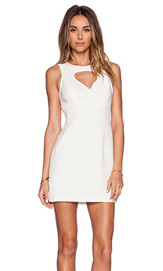 BCBGeneration Front Cut Out Dress in Whisper White