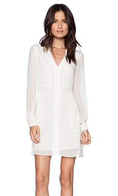 BCBGeneration Flounce Front Dress in Whisper White