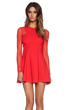 BCBGeneration Long Sleeve Paneled Dress in Passion