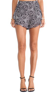 BCBGeneration Ruffle Shorts in Black Multi