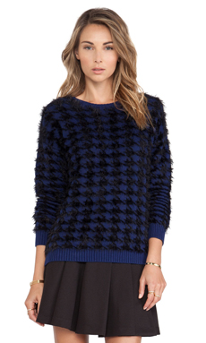 BCBGeneration Textured Houndstooth Sweater in Dragon Fly Combo