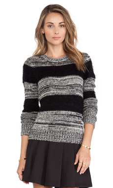 BCBGeneration Mix Marled Crew Neck Sweater in Black Combo