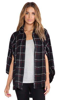 BCBGeneration Hooded Poncho in Black Multi