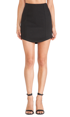 BCBGeneration Curved Hem Skirt in Black