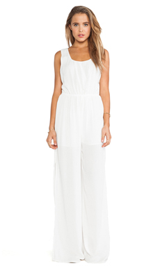 BCBGeneration Racer Back Cut Out Jumpsuit in Off White