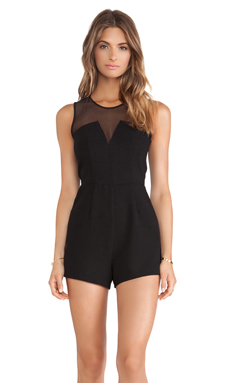BCBGeneration Sheer Panel Romper in Black