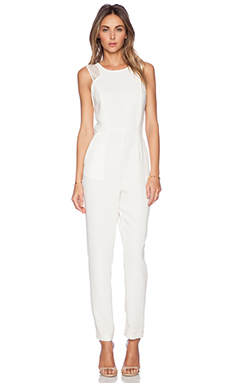 BCBGeneration Racer Front Jumpsuit in Whisper White
