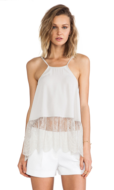 BCBGeneration Lace Hem Halter Top in Cashew