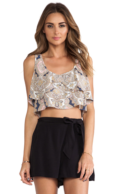 BCBGeneration Flowy Button Up Top in Off White Multi