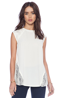 BCBGeneration Lace Back Top in Whisper White