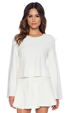 BCBGeneration Full Sleeve Top in Whisper White