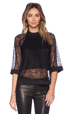 BCBGeneration Sheer Overlay Top in Black
