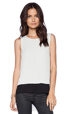 BCBGeneration Sheer Layer Top in Whisper White Combo