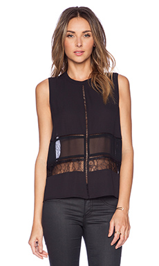 BCBGeneration Mock Neck Lace Top in Black