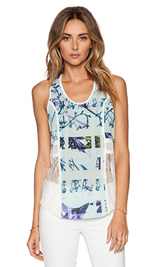 BCBGeneration Lace Patch Tank in Aquashell Multi