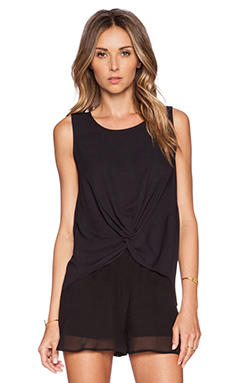 BCBGeneration Front Knot Tank in Black