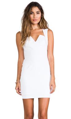 Black Halo Laurence Stretch Gabardine Mini Dress in White