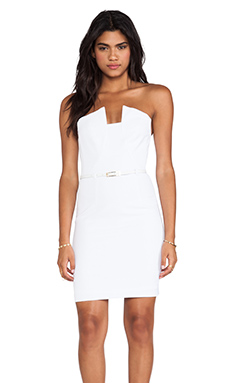 Black Halo Lena Mini Dress in Optic White