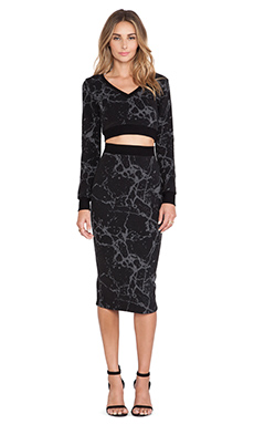 Black Halo Marett Two Piece Dress in Marble Jacquard