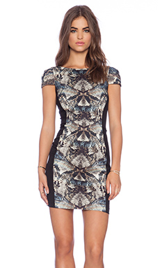 Black Halo Grayson Mini Dress in Blue Snake & Black