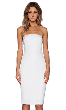 Black Halo Olsen Strapless Dress in White