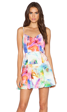 Black Halo Kierrah Mini Dress in Soft Watercolor Print
