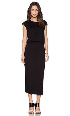 BLAQUE LABEL Long Knit Bloused Dress in Black